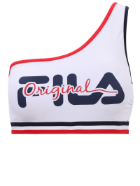 Logo One Shoulder Swim Top In White by