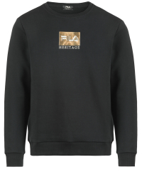 Gold Logo Crew Neck Sweater in Black by