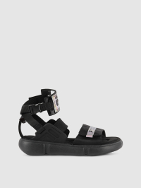 Logo Patch Chunky Sandals in Black by