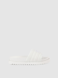 Puffy Slide Sandals in White by