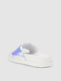 Puffy Slide Logo Sandals in White by