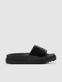 Puffy Slide Logo Sandals in Black by