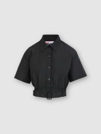 Buckle Cropped Shirt in Black by