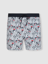 Fila Paper Print Swimshorts in Black and Red by